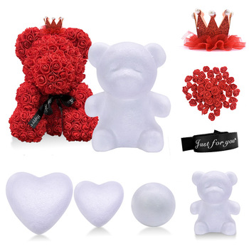 цена на 1Pc Polystyrene Styrofoam Foam Ball Rose Bear White Heart Craft For DIY Party Decoration Wedding Birthday Valentines Day Gift