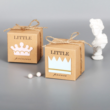 10pcs Favor Candy Box bag New Craft Paper Prince And Princess Wedding Gift Boxes Pie Party Bags 5.4 * 5.4cm