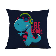 Cartoon Funny Wear Sunglasses Cool Crocodile And Dinosaur Letter Throw Pillow Case Home Sofa Kid's Room Decorative Cushion Cover