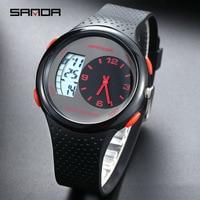 Sanda Waterproof Men's Sports Watch Outdoor Casul Luminous Digital Watches Dual Display Silicone Electronic Watch Calendar Alarm
