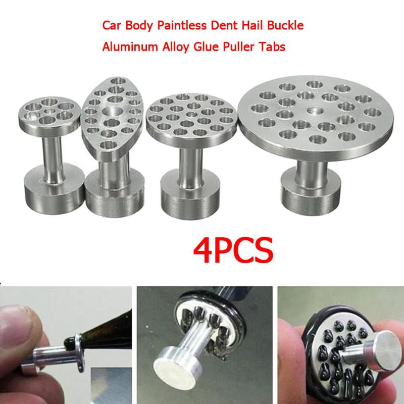 4pcs Car Body Paintless Dent Hail Buckle Aluminum Alloy Glue Puller Tabs Remover Automobile Repairing Tools Set