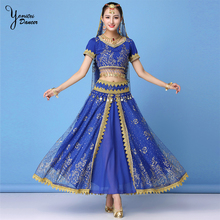 3 Pcs/Set New Brand High Quality Indian Dress Blue Red Golden Lace Embroidery Dance Costume Bellydance Performance Costume 2020