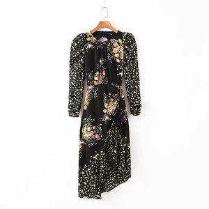 Image 5 - Ross midi dress women 2019 autumn new floral print puff sleeve backless plus size split dress