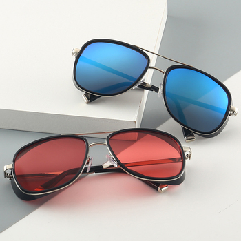 Steampunk okulary przeciwsłoneczne Tony Stark styl lotu mężczyźni kobiety plac marka projekt okulary óculos Retro mężczyzna Iron Man 3 tanie i dobre opinie XIRAN CN (pochodzenie) Dla dorosłych Z tworzywa sztucznego Anti-odblaskowe UV400 50MM C-61 65MM