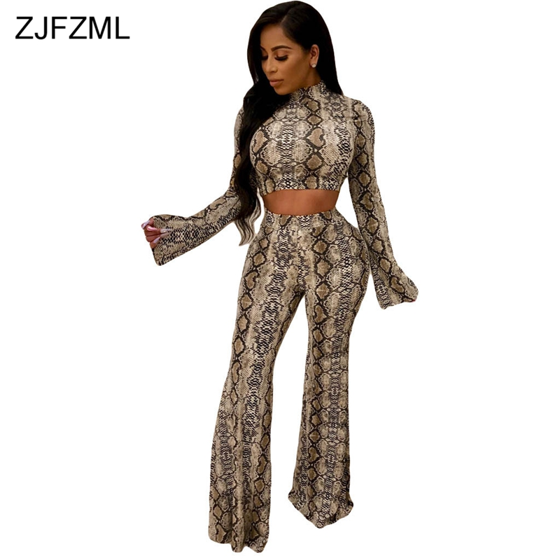 ZJFZML Snake Print Sexy 2 Piece Outfits For Women Long Sleeve High-Necked Crop Top And Wide Leg Pants Fall Plus Size Tracksuit