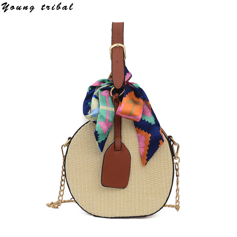 Women Woven Bags 2020 Mini Vintage Chain Shoulder Bag Ladies Round Knitting Handbags For Girls Small Fashion Straw Hand Bag