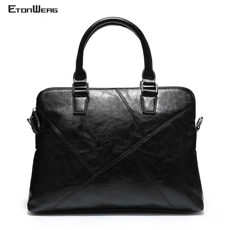 Men's Business Office Briefcase Brand PU Leather Handbag Male Solid Black Messenger Bag Fashion Thread Laptop Tote Shoulder Bags