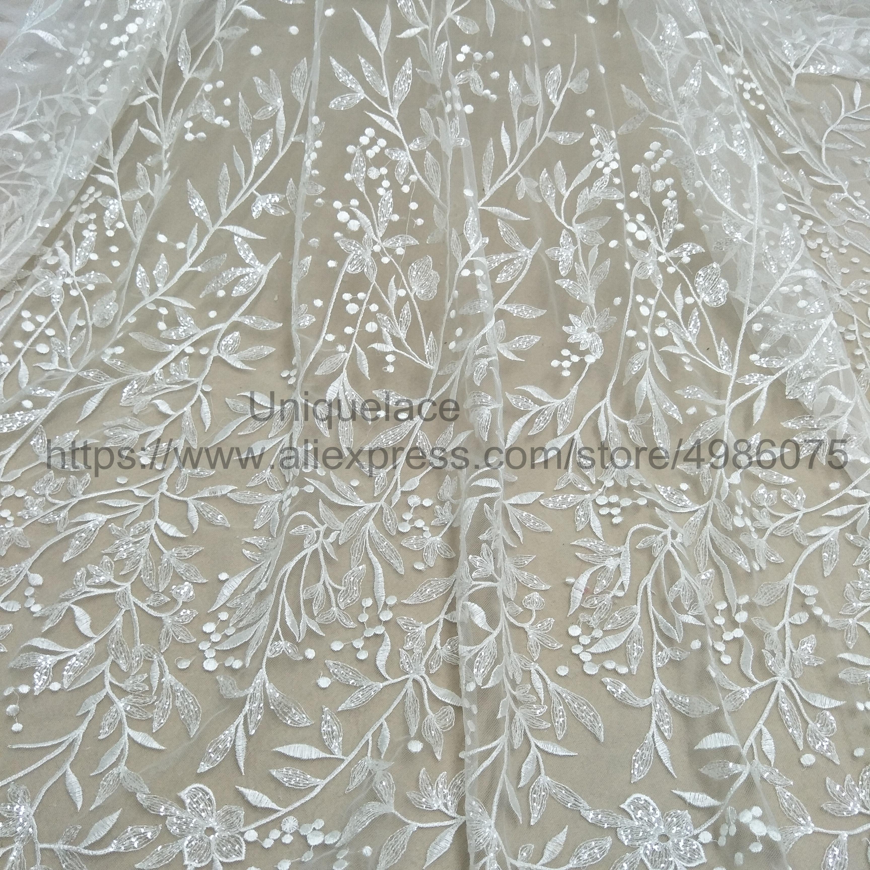2020 Folhas de tecido vestido de 130 centímetros de transporte em todo o mundo vestido de lantejoulas worldwide shippin moda do laço do marfim