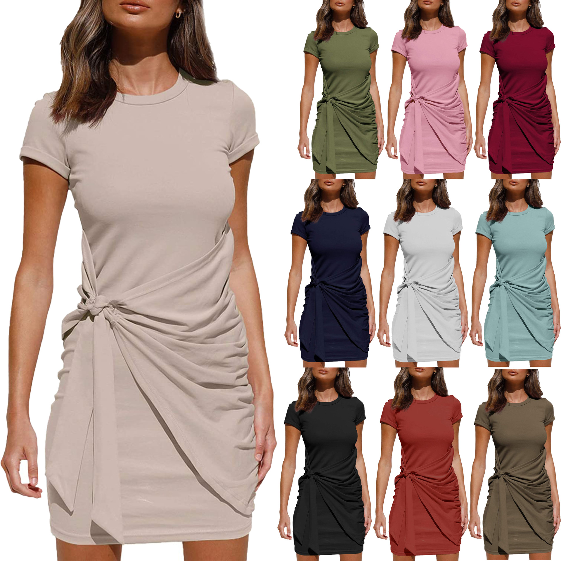2021 spring and summer new women's knotted Short Sleeve Dress