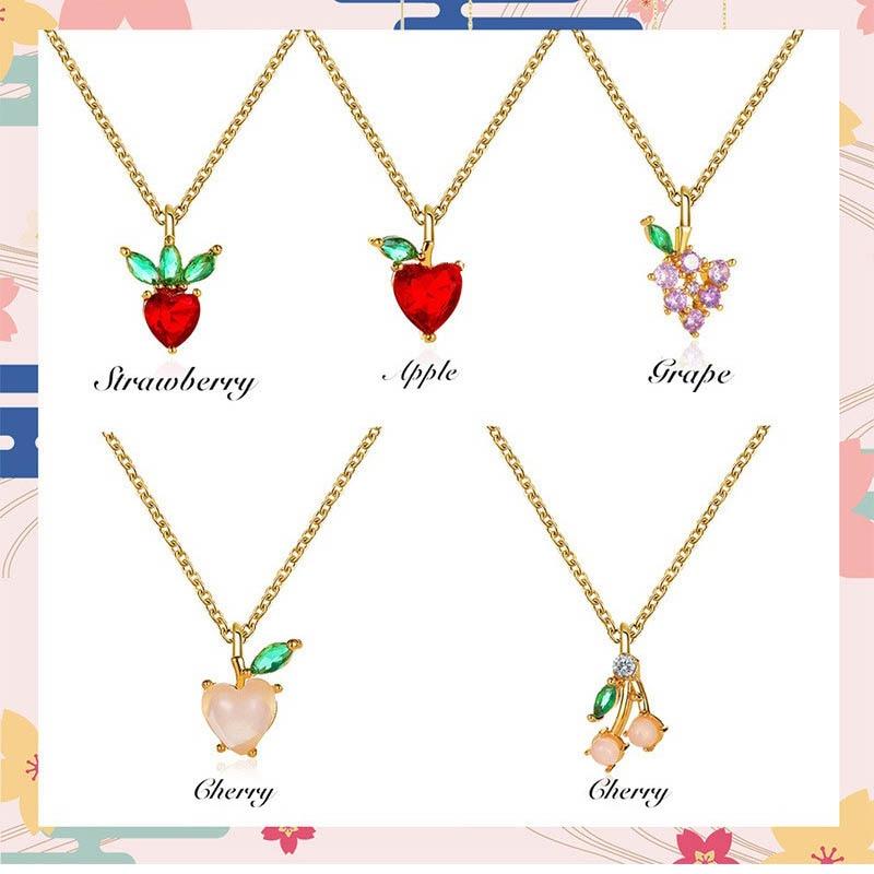 Mode Trauben Kirsche Kristall Anhänger Halskette Für Frauen Mädchen Neue Design Fruit Charms Strass Halsband Schmuck Party Geschenke