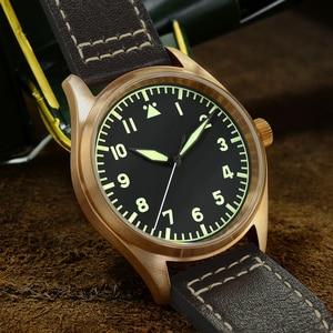 Image 2 - San MartinนาฬิกาBronze Mechanical Pilotนาฬิกาผู้ชายส่องสว่างสายหนังกันน้ำ