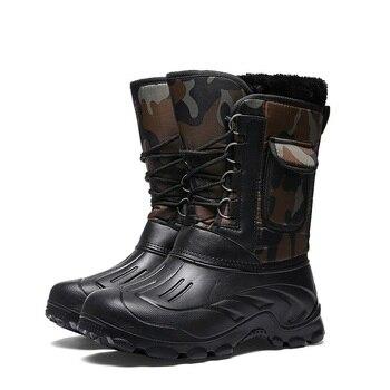 мужская обувь дождя | Mvp Boy Супер Теплый Мужские зимние сапоги для Для мужчин теплая Водонепроницаемый непромокаемые сапоги Для мужчин, сапоги до середины икр, те...