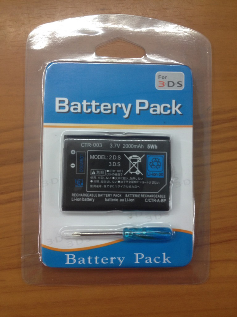 for Nintendo <font><b>3DS</b></font> <font><b>Batteries</b></font> <font><b>2000mAh</b></font> Rechargeable Lithium-ion <font><b>Battery</b></font> Pack Game Console Replacement batteria Bateria with tools image