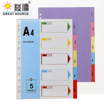 A4 File Folder Divider Printing Paper Card Index 5 Color Divers With Index Cover (4 Sets) comix ix894 paper index card a4 11 holes for documents file display free shipping