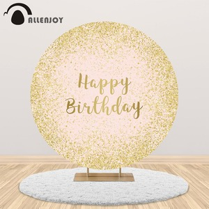 Allenjoy round 1st birthday party decorations backdrop kids adult bokeh circle banner cover customize background photobooth