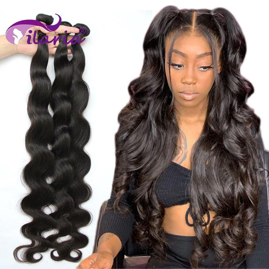 Ilaria pacotes de cabelo humano onda do corpo 100% cabelo brasileiro tecer pacotes 3 4 pacote 28 30 32 38 40 polegadas extensões de cabelo remy cru