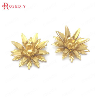(38501)10PCS 23MM Height 8MM Not plated color Brass 3D Multi-layer Flower Jewelry Making Supplies Diy Findings Accessories