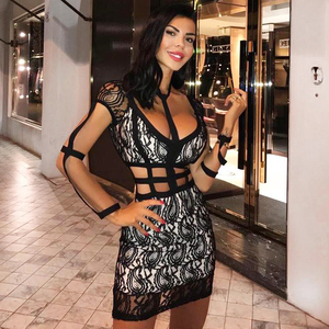 Image 3 - 2020 nowa seksowna damska czarna koronkowa sukienka wisząca szyja Hollow bandażowa sukienka seksowna Mini impreza sukienka Vestidos hurtownia