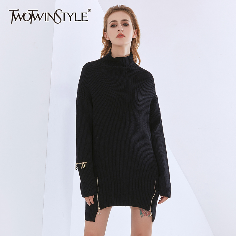 TWOTWINSTYLE Casual Sweaters For Women Turtleneck Long Sleeve Patchwork Zipper Loose Long Pullovers Female 2020 Fashion Clothing