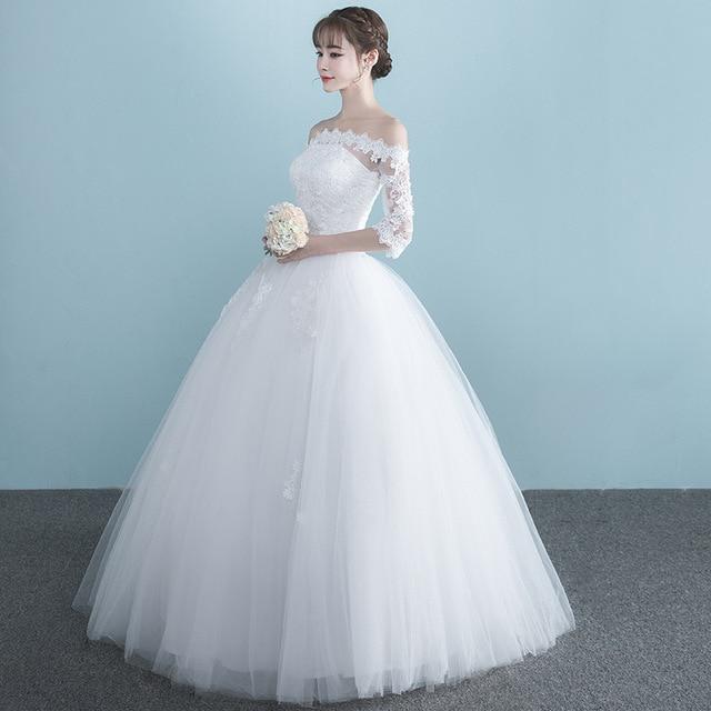 LAMYA Vestidos Boat Neck Bride Married Dress Long Sleeve Simple Large Size Ball Gowns Tulle Wedding Dresses De Novia New Lace up 4