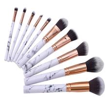 Professional 10pcs Marble Makeup Brushes Set Soft Foundation Powder Eyeshadow Brush Beauty Make Up Tools