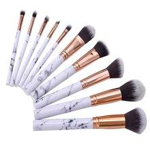 Professional 10pcs Marble Makeup Brushes Set Soft Foundation Powder Eyeshadow Brush Beauty Marble Make Up Tools цена в Москве и Питере