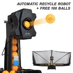 HUIPANG S6 PRO Tischtennis Roboter Trainer Roboter Maschine Freies 100pcs Ping Pong Bälle Automatische Recycle Kugeln Bewegen Spielen nicht-Stop