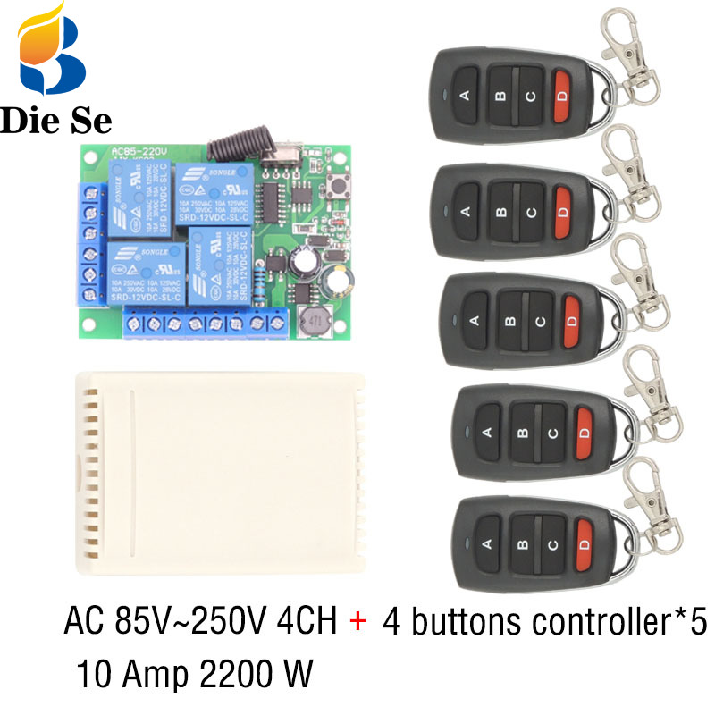 433MHz Universal Wireless Remote Control AC 110V 220V 10Amp 2200W 4CH Relay Receiver