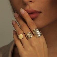 3 قطعة/المجموعة بوهيميا هندسية جولة عملة ذهبية خواتم للنساء خمر المعادن حجر الراين سحر خواتم مجموعات حزب مجوهرات Brincos