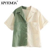 KPYTOMOA Women 2020 Fashion Oversized Patchwork Blouses Vint