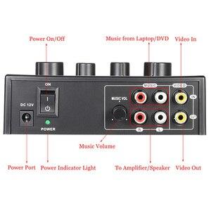 Image 4 - Ofertas superiores portátil duplo microfone entradas de áudio misturador de som para amplificador & microfone karaoke ok mixer preto eua plug