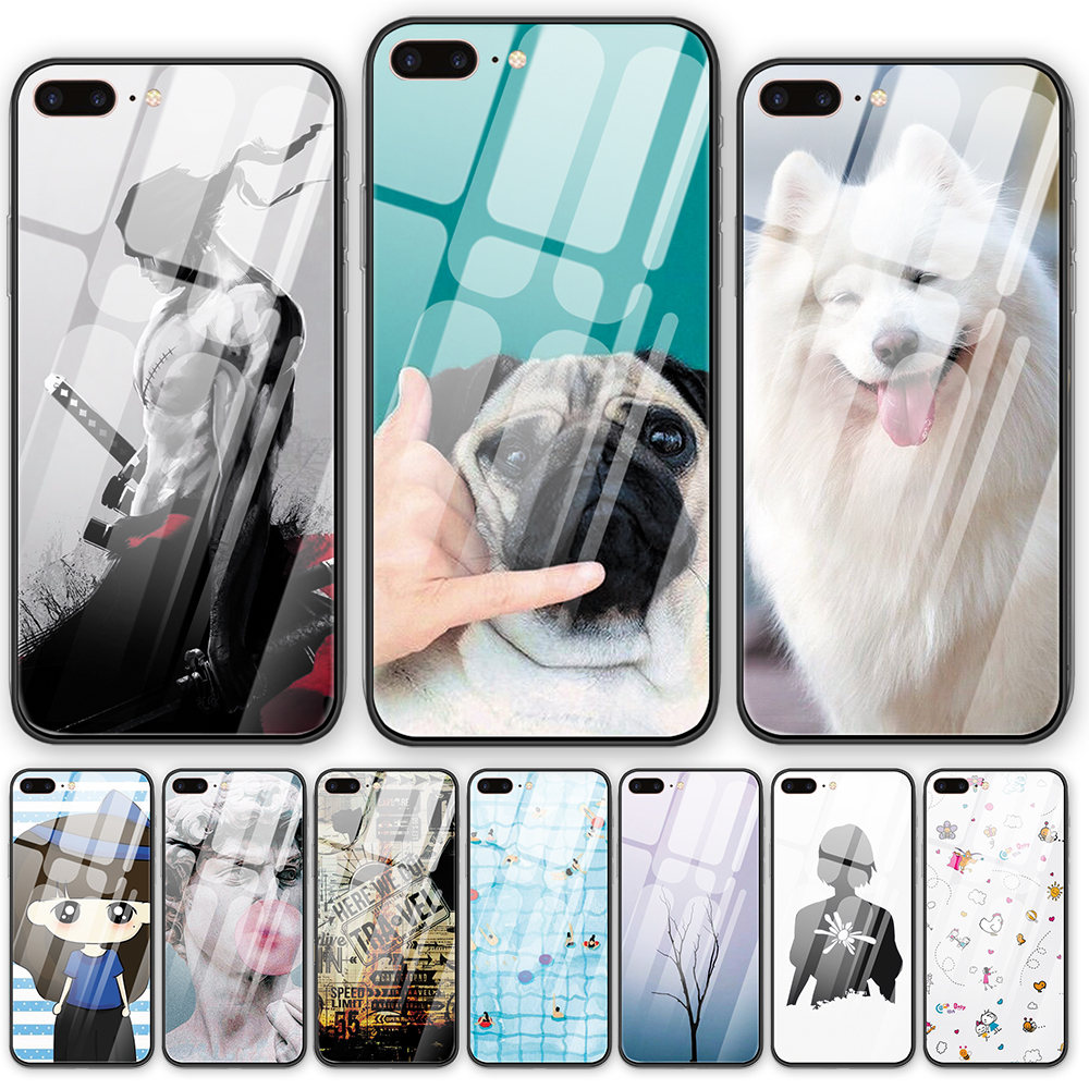 Cute Dog Tempered Glass Back Cover Phone Case Funny Wallpaper For Iphone 5 5s Se 6 6s 7 8 Plus X Xs Xr Xsmax 11 Pro Max Shell Half Wrapped Cases Aliexpress
