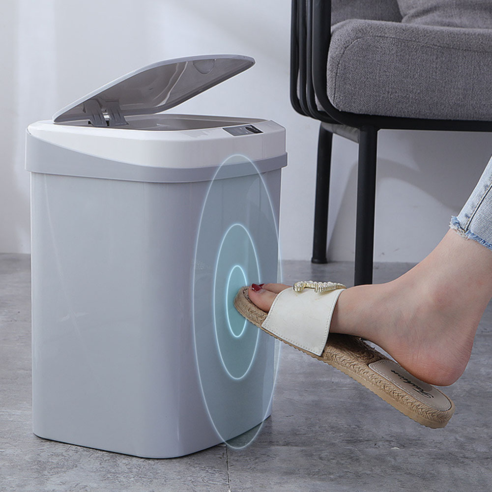 Cover Kitchen Electric Waste Bin Home Trash Can ABS Large Capacity Silence Battery Powered Tap Infrared Induction Smart Kick