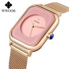 Wwoor 2020 женские квадратные часы Роскошные наручные розового