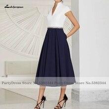 Elegant Navy Blue Moeder Van De Bridal Dress 2021 Vestido Madrina Boda Kralen Sexy Vrouwen Satin Avondjurk Lakshmigown
