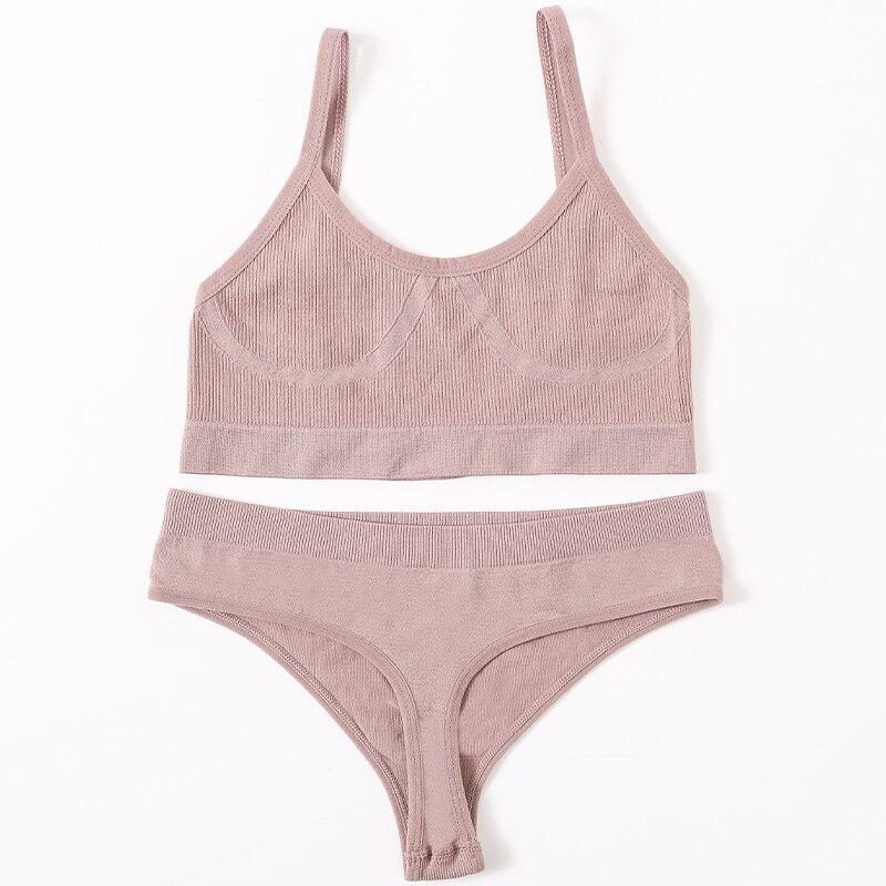H9e4fc142bea7426c806d238b87a29239M Women Bra Panties Set Push Up Sports Bra Set Sexy G-String Seamless Active Bra Thong Lingerie Set Fitness Crop Top Underwear