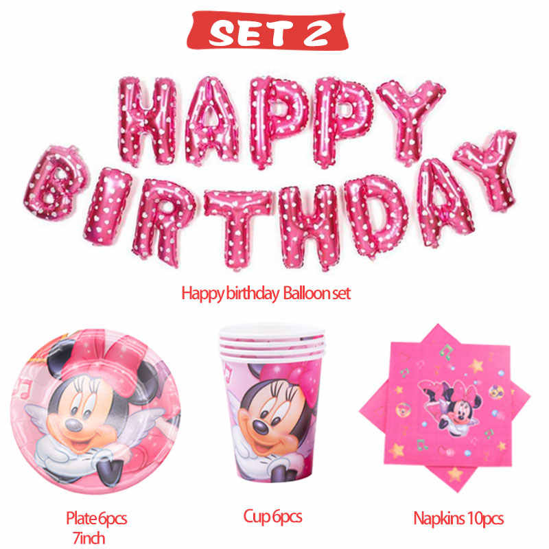 PARTY Cartoon party  Minnie Paper plate napkins balloon for baby shower party Christmas decoration supplies