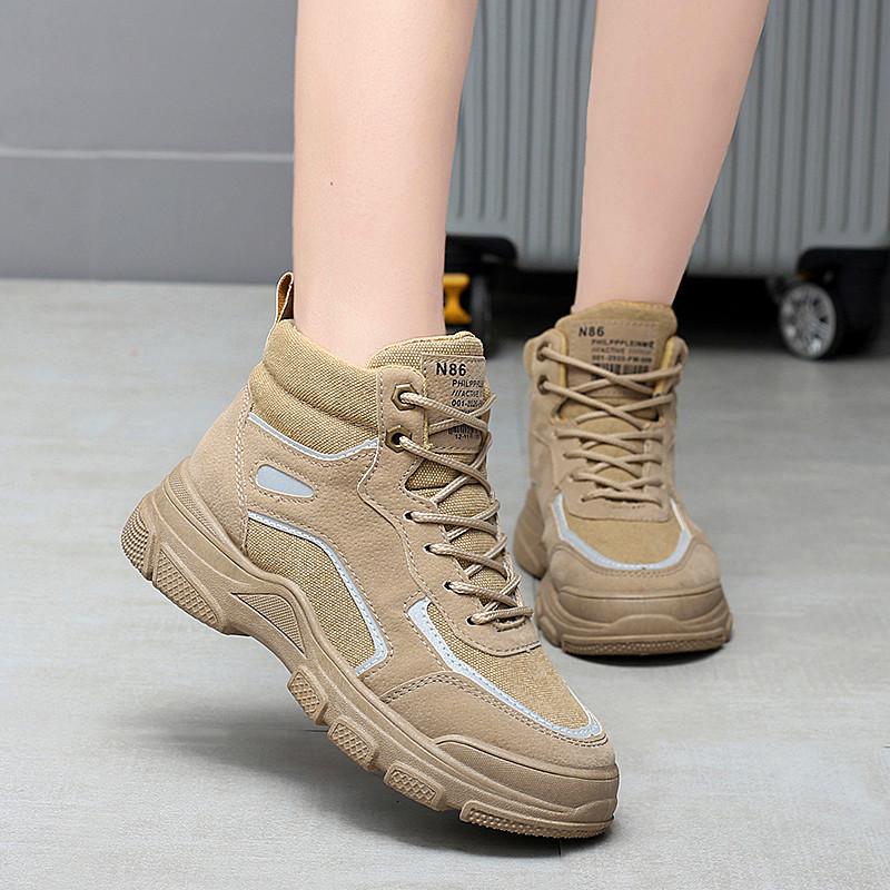 Winter High-top Martin Boots Reflective Shoes Sport Scasual Women Shoes Outdoor Leisure Sneakers Light Women's Vulcanize Shoes