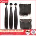 Прямые волосы Satai  3 пучка с фронтальной передачей  натуральные перуанские пучки волос с закрытыми волосами  не Реми  волосы для наращивания