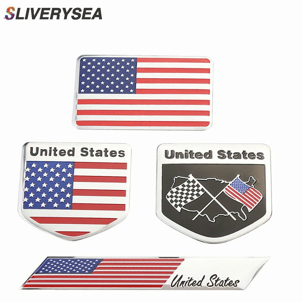 SLIVERYSEA 3D Alloy Metal US USA The United States American Flag Emblem Badge Car Stickers and Decal