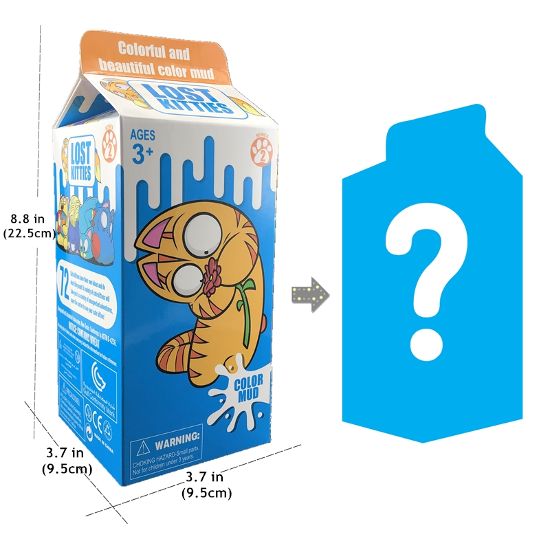 Big Box Lost Kitties Milk Box Match Squishy Clay  Surprise Blind Box With Random Modeling Kittens Toys For Children Gift