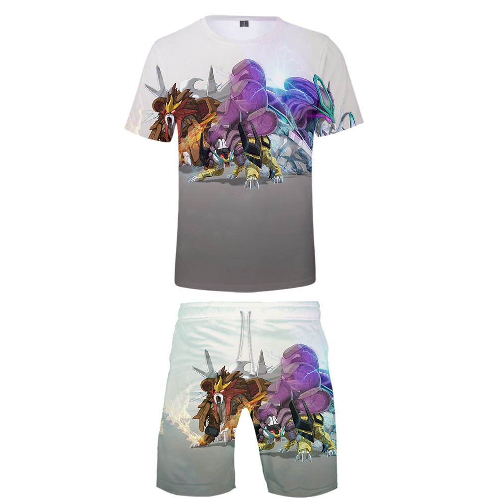 2019 Pokemon Two Piece Set Tshirt And Shorts Harajuku Men Pokemon T Shirt Machinery Harajuku Short Sleeve Plus Size For Men