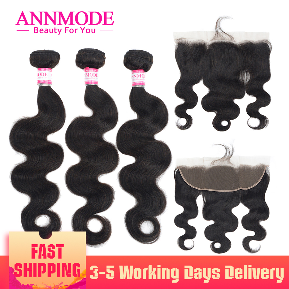 Brazilian Body Wave 3 Bundles With Frontal 100% Human Hair 13x4 Lace Frontal  Non Remy Natural Color Annmode Hair