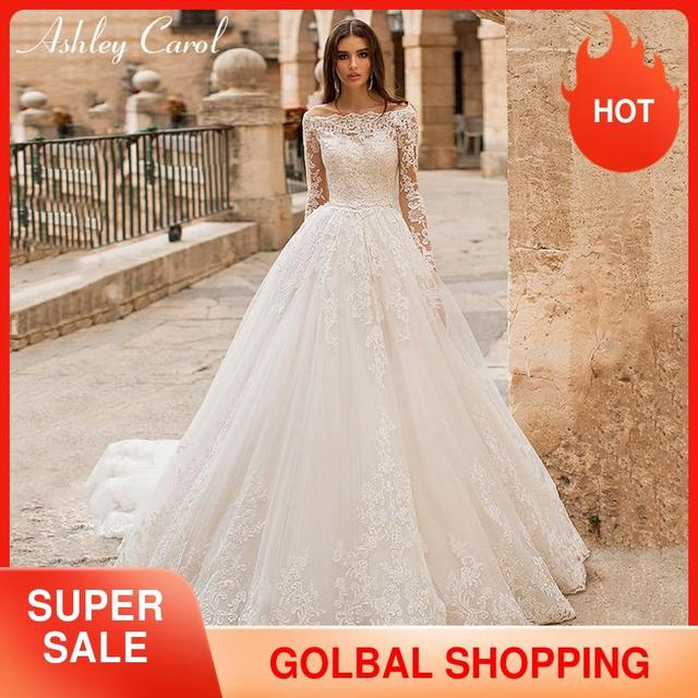 Ashley Carol ślub księżniczki sukienka 2020 z długim rękawem aplikacje zasznurować łódź szyi rocznika linii suknia ślubna Vestido De Noiva