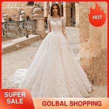 Ashley Carol prenses düğün elbisesi 2020 uzun kollu aplikler Lace Up tekne boyun Vintage A Line gelin kıyafeti Vestido De Noiva