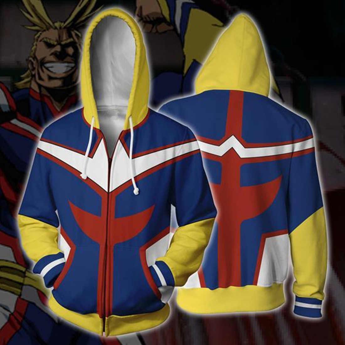 New 2019 3D My Hero Academia Hoodies 남성 캐주얼 애니메이션 남성 Hoodie Cosplay Costume Sweatshirt Streetwear 지퍼 탑 자켓