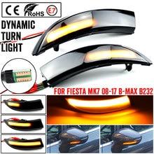 2 pces dinâmico led turn signal luz fluindo lado asa espelho retrovisor indicador para ford fiesta mk7 2008-2017 para ford b-max