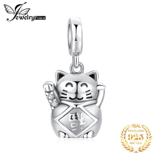 JewelryPalace Lucky Cat 925 Sterling Silver Beads Charms Silver 925 Original For Bracelet Silver 925 original For Jewelry Making