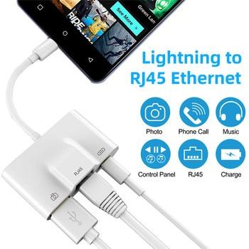 Adaptador Ethernet RJ3 1 em 45 para Lightning To LAN Rede com fio USB 3.0 Camera OTG Cable Adapter Sync de dados para iPhone X XS 8 7 1
