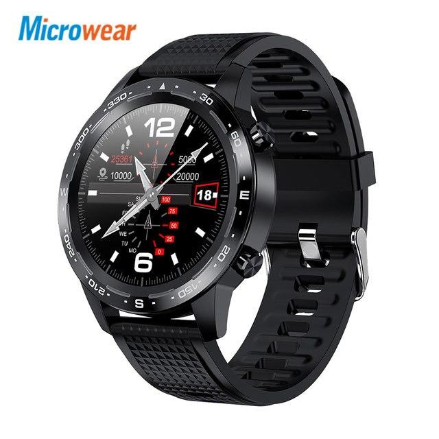 2020 جديد Microwear L12 ساعة Bluetooth ذكية مكالمة ECG + إندستريز جهاز تتبع معدل ضربات القلب لأغراض اللياقة البدنية ضغط الدم IP68 للماء VS L7 L11